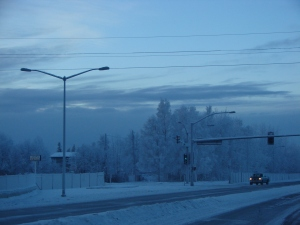 This was the highway in Fairbanks in the month of January..